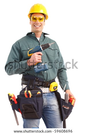 Young handsome builder. Isolated over white background - stock photo