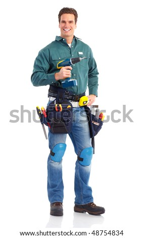 Young handsome builder worker. Isolated over white background - stock photo