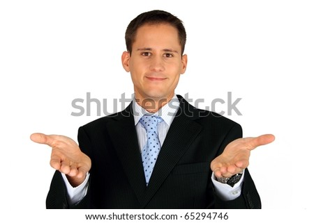 Young handsome business man extending his arms towards you - stock photo