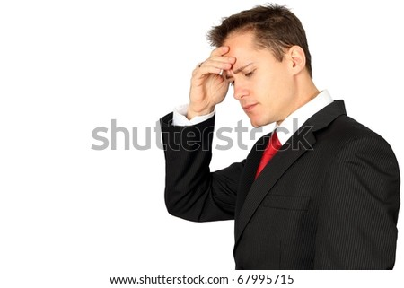 Young handsome business man having stress or a headache - stock photo