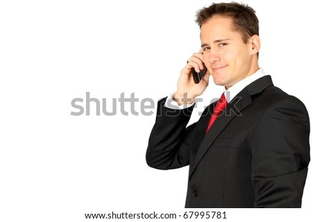 Young handsome business man making a phone call on his smartphone - stock photo