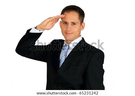 Young handsome business man saluting - stock photo