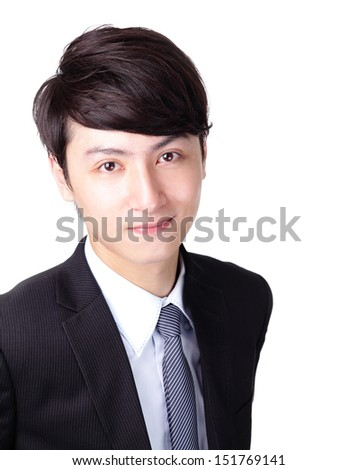 Young handsome business man with great smile isolated on white background with lots of copy space, asian model - stock photo