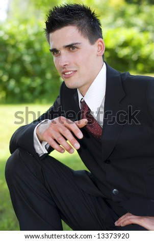 young handsome business men close up portrait - stock photo