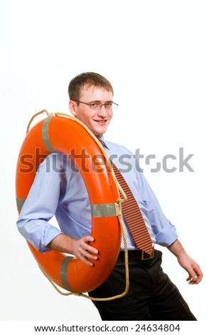Young handsome businessman holding a life buoy - stock photo