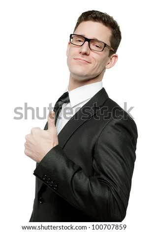 Young handsome businessman in black suit on white. - stock photo