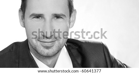 Young handsome businessman, isolated
