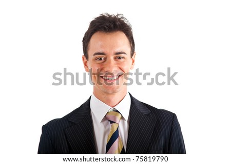 Young handsome businessman isolated on white - stock photo