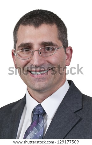 Young handsome businessman looking for work - stock photo