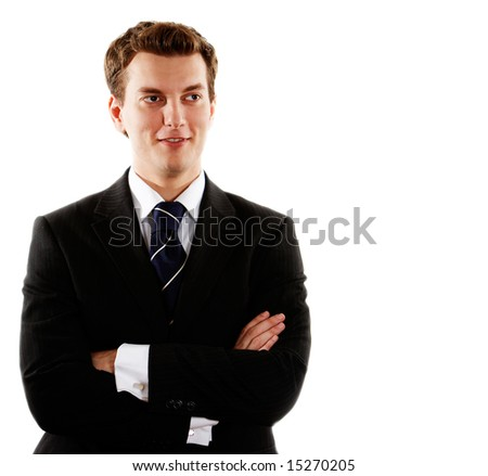 young handsome businessman over white - stock photo