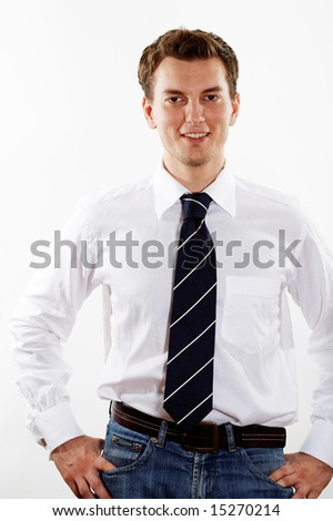 young handsome businessman over white