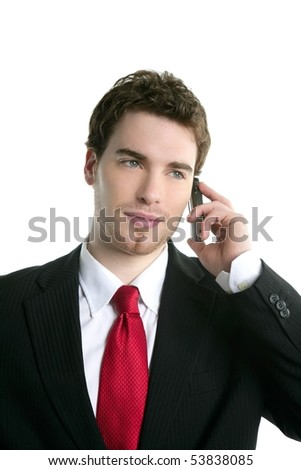 young handsome businessman suit tie talking mobile phone - stock photo