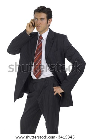 Young handsome businessman. Talking by mobile phone. Isolated on white in studio. - stock photo