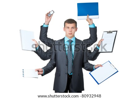 young handsome businessman with six hands in elegant suit working hold notepad clipboard, cell phone, paper, document, contract, folder business plan. Isolated over white background. Concept of busy