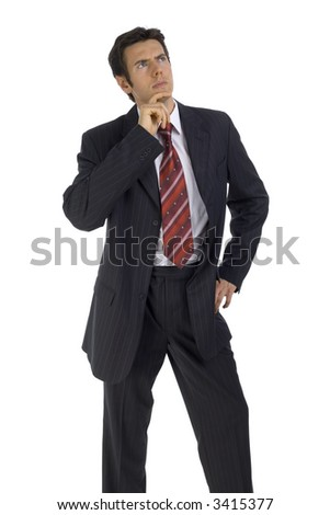 Young handsome businessman. Wondering about something. Isolated on white in studio. - stock photo