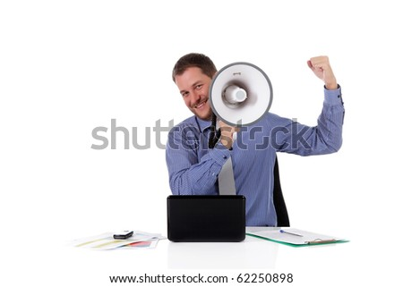 Young handsome caucasian businessman with a megaphone in front face, clench fist as success symbol. Studio shot. White background. - stock photo