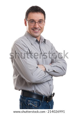 young handsome confident caucasian businessman posing isolated over white