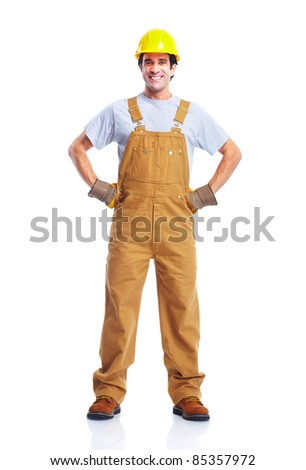 Young handsome contractor  in yellow uniform. Isolated over white background