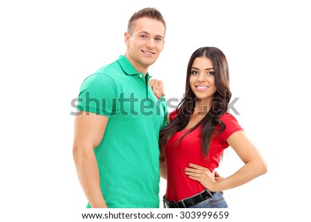 Young handsome couple posing isolated on white background - stock photo