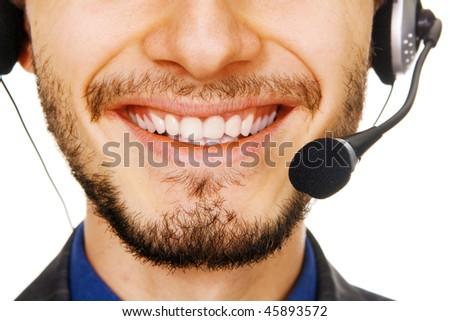 Young handsome customer service operator - stock photo