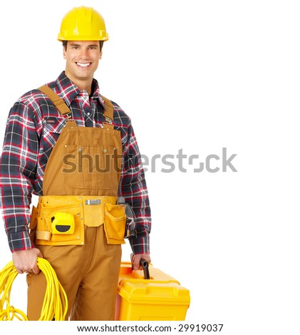 Young handsome electrician in yellow uniform. Over white background - stock photo