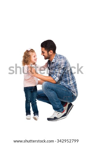 young handsome father with his little daughter isolated on white - stock photo
