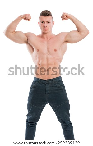 Young, handsome fit male posing shirtless isolated on white background - stock photo