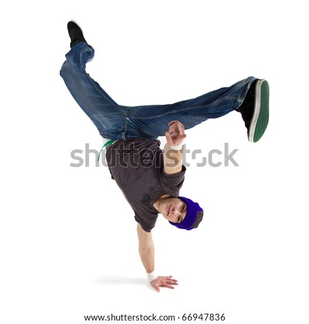 Young handsome fresh man breakdancing with stylish clothes. - stock photo