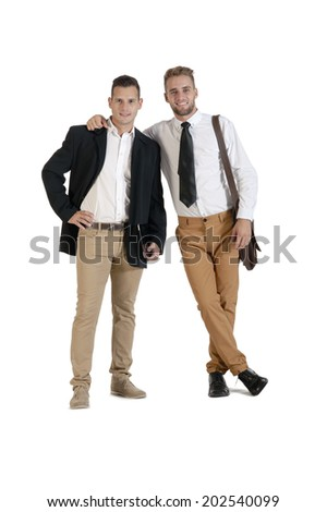 Young handsome gay business partners isolated on white background - stock photo