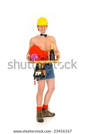 Young handsome gigolo man in construction outfit with champagne bottle,  Studio shot, white background - stock photo