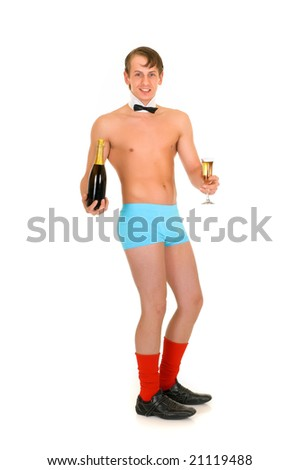 Young handsome gigolo man with champagne bottle,  Studio shot, white background - stock photo