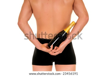 Young handsome gigolo man with valentine champagne bottle,  Studio shot, white background - stock photo