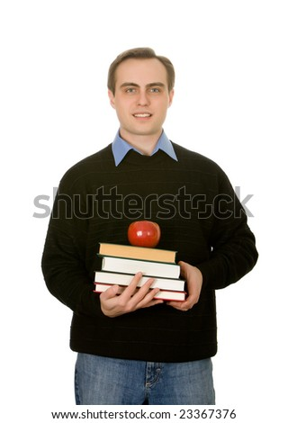 Young handsome guy holding books and an apple. Isolated on white. - stock photo