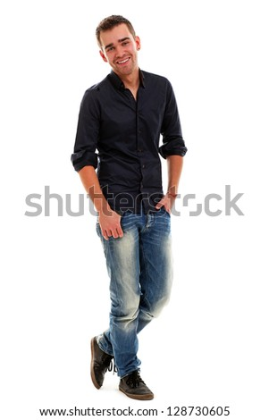 Young handsome guy isolated over white background - stock photo