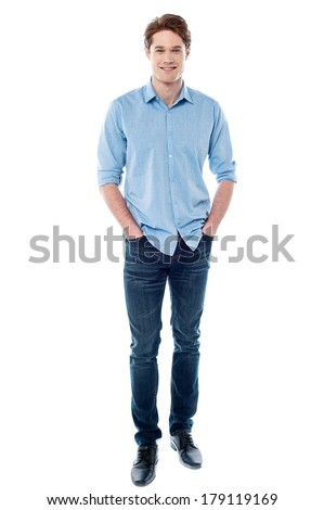 Young handsome guy posing casually - stock photo