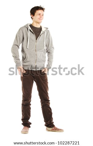 Young handsome happy man with hip style against white background - stock photo