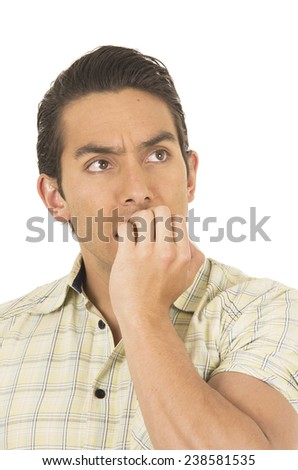 young handsome hispanic man posing scared covering mouth isolated on white closeup - stock photo