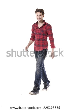 Young handsome male in jeans posing in full length over white background - stock photo