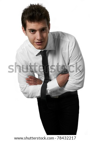 Young handsome male mode posing white background studio shot with copy space - stock photo