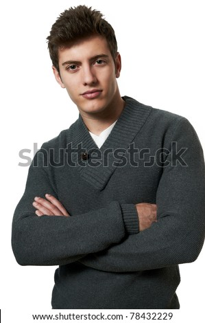 Young handsome male model posing white background studio shot with copy space - stock photo