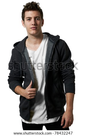Young handsome male model posing white background studio shot with copy space