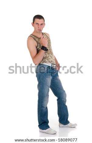 Young handsome man, casual dressed, jeans, sneakers and shirt,  Studio shot, white background - stock photo