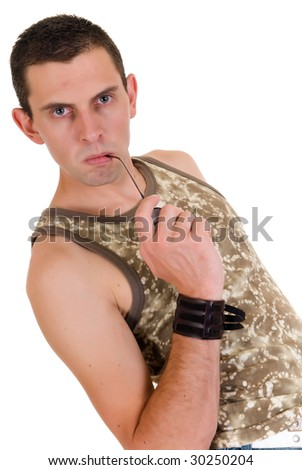 Young handsome man, casual dressed, shirt,  Studio shot, white background - stock photo