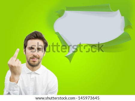 young handsome man disagreement on a bubble speech background