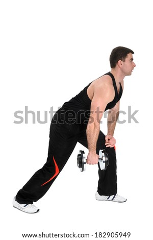 young handsome man doing standing one arm dumbbell row workout