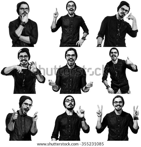 young handsome man dressed casually with different emotions. showing gesture cool, ok, fine. isolated on white background. collage - stock photo