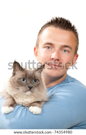 Young handsome man hold his lovely Ragdoll cat with blue eye isolated on a white background - stock photo