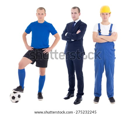 young handsome man in different professions - business man, soccer player and builder isolated on white background - stock photo