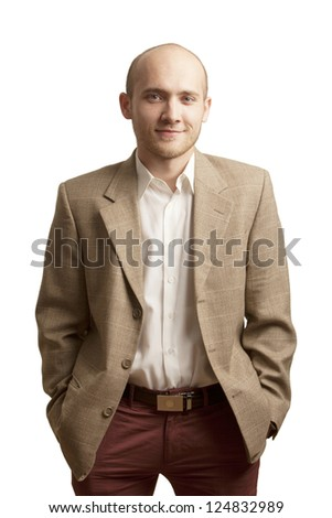 Young handsome man in  suit and glasses smiling isolated on white background - stock photo