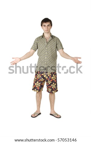 young handsome man in summer beach clothes standing, hands at sides, isolated on white - stock photo